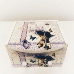 Cutie de bijuterii Lavanda personalizata cu 2 sertare