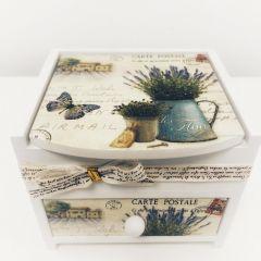 Cutie de bijuterii Lavanda personalizata cu 1 sertar