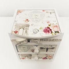Cutie de bijuterii personalizata Roses cu 2 sertare