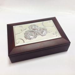 Cutie de bijuterii maro cu trandafiri personalizata