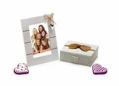 Set rama foto si cutiuta de amintiri din lemn personalizate