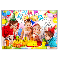 "Puzzle din lemn ""Ηappy birthday"" personalizat - 45 piese"